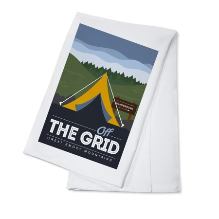 Great Smoky Mountains, Tennessee - Off the Grid (Tent) - Discover the Park - Vector Style - Lantern Press Artwork (100% Cotton Kitchen
