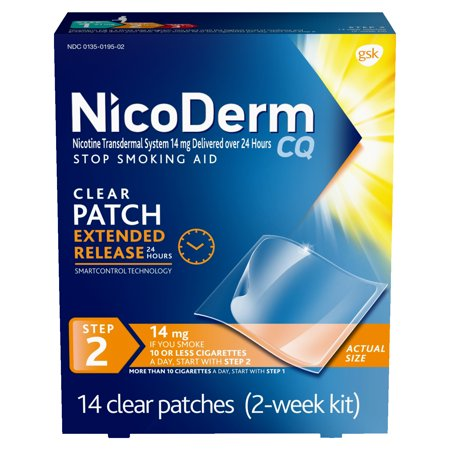 NicoDerm CQ Nicotine Patch, Clear, Step 2 to Quit Smoking, 14mg, 14 (Smoking With A Nicotine Patch On Side Effects)