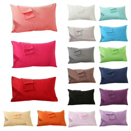 Outgeek Set of 2 Soft Cotton Solid Color Pillowcases Pillow Cover for Home Bedroom Hotel Travel, Standard Size