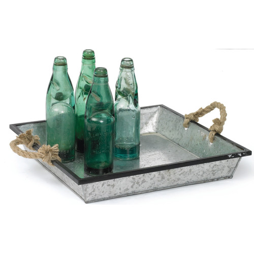 Hip Vintage Tin Tray with Rope Handle