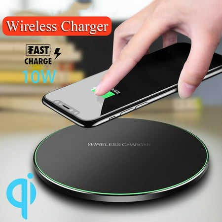 Ultra-Slim Wireless , QI Fast Wireless Charging Pad for iPhone Xs/XS MAX/XR/X/8/8 Plus, for Samsung Galaxy Note 8 S10/S9/S8/S8 Plus/S7 -