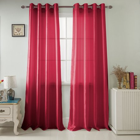 Nancy Faux Silk 54 x 84 in. Grommet Curtain Panel, Burgundy