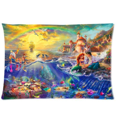 DEYOU The Little Mermaid Pillowcase Pillow Case Cover Two Sides Printing Size 20x30 inch