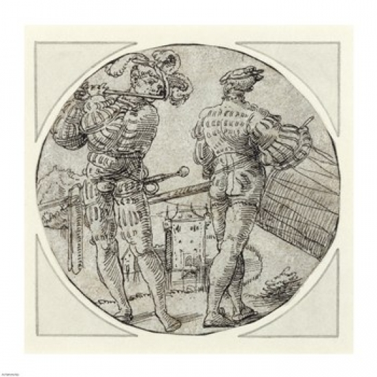 A Flutist and Drummer Before a Moated Castle Poster Print (16 x 16)