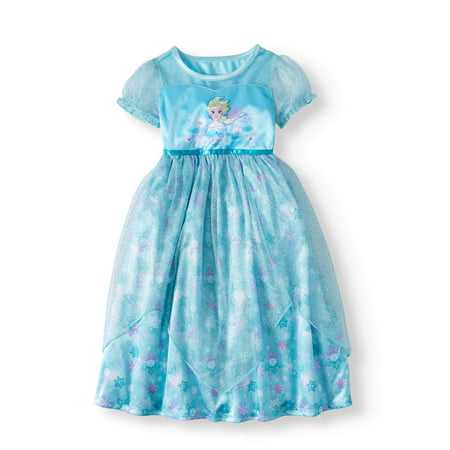 Frozen Elsa Short Sleeve Fantasy Nightgown (Toddler Girls) - Queen Elsa Gown