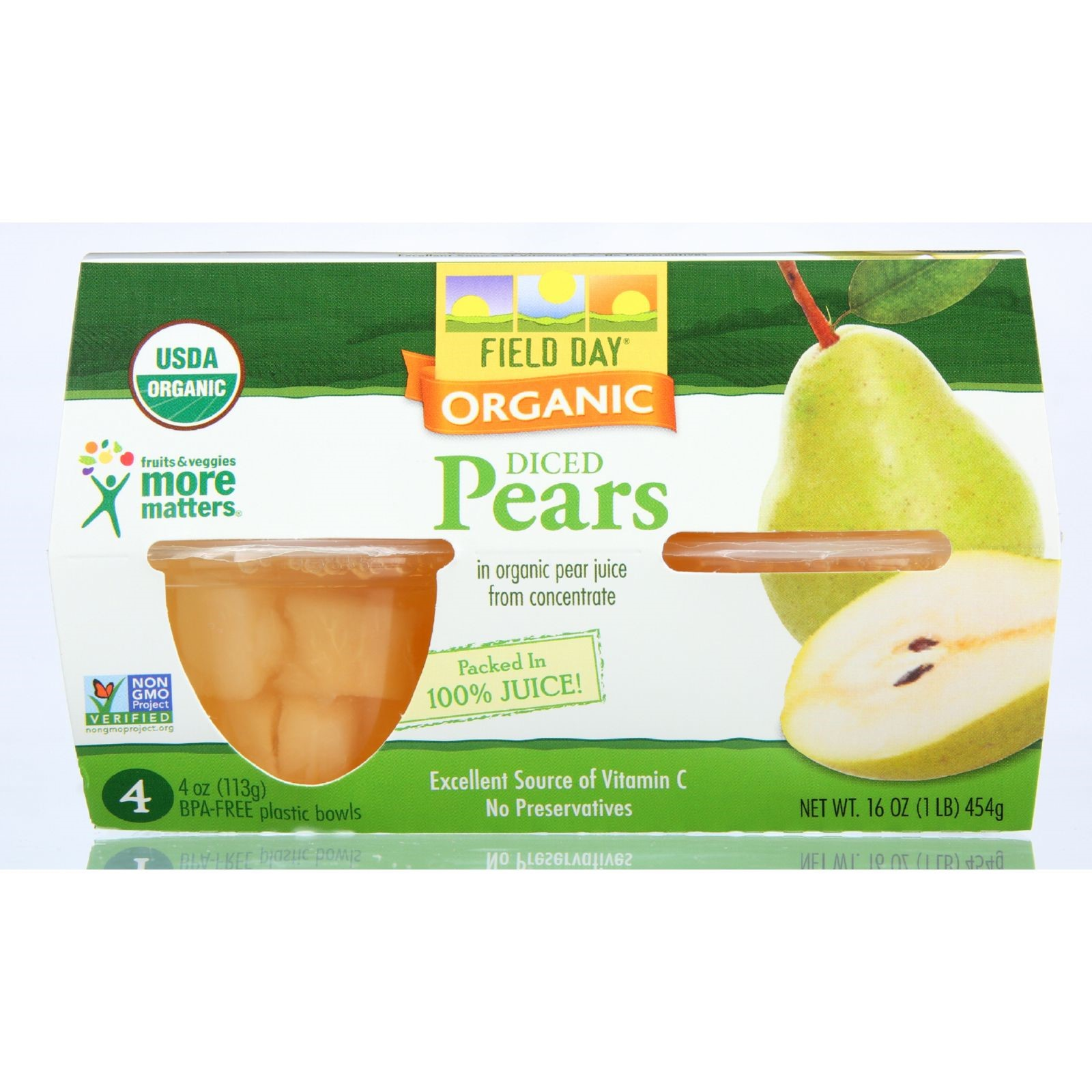 (4 Pack) Field Day Fruit Cups Organic Pears, 4 Oz, 4 Ct