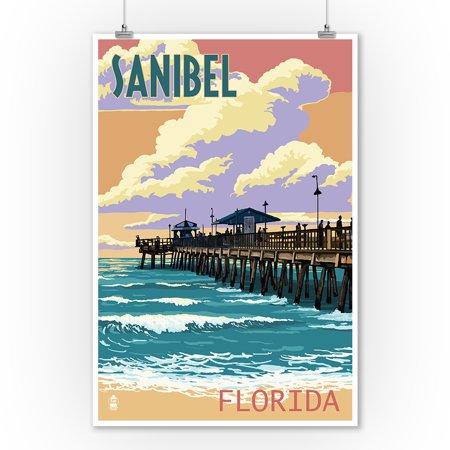 Halloween Home Decor Pier One (Sanibel, Florida - Pier & Sunset - Lantern Press Poster (9x12 Art Print, Wall Decor Travel)