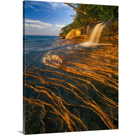 Great BIG Canvas | Stephen Matera Premium Thick-Wrap Canvas entitled Small waterfall along the edge of Lake Superior, Michigan