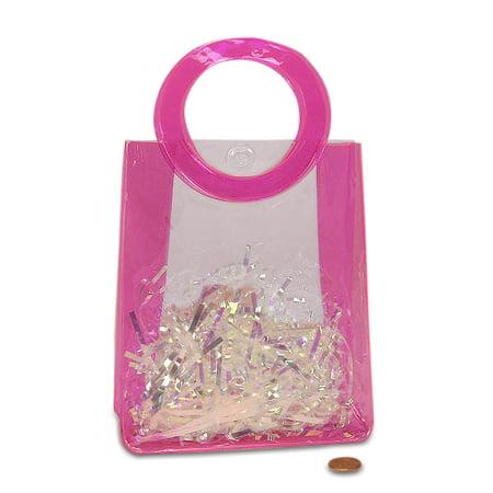 Hot Pink Vinyl Handle Bags   Quantity: 12   Width: 2