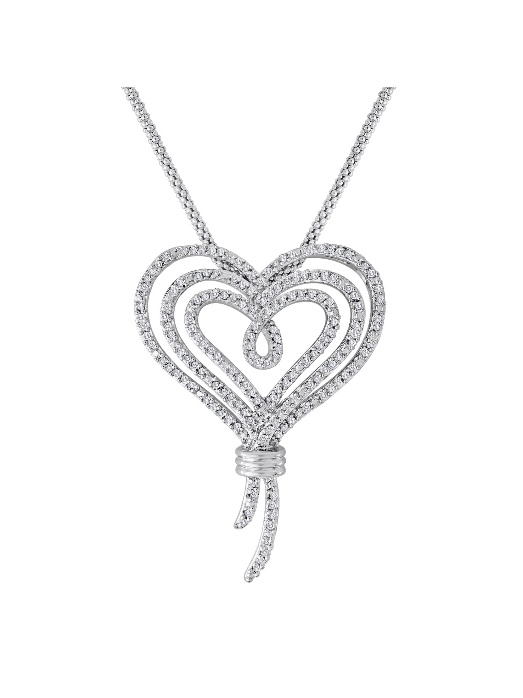 """Knots of Love Sterling Silver 1/2 Carat T.W. Diamond Heart Pendant, 18"""""""