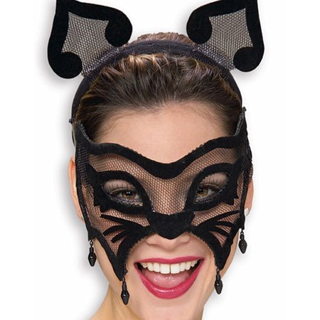 Cat Mask For Halloween (Womens Halloween Black Cat Masquerade Eye Costume Mask)