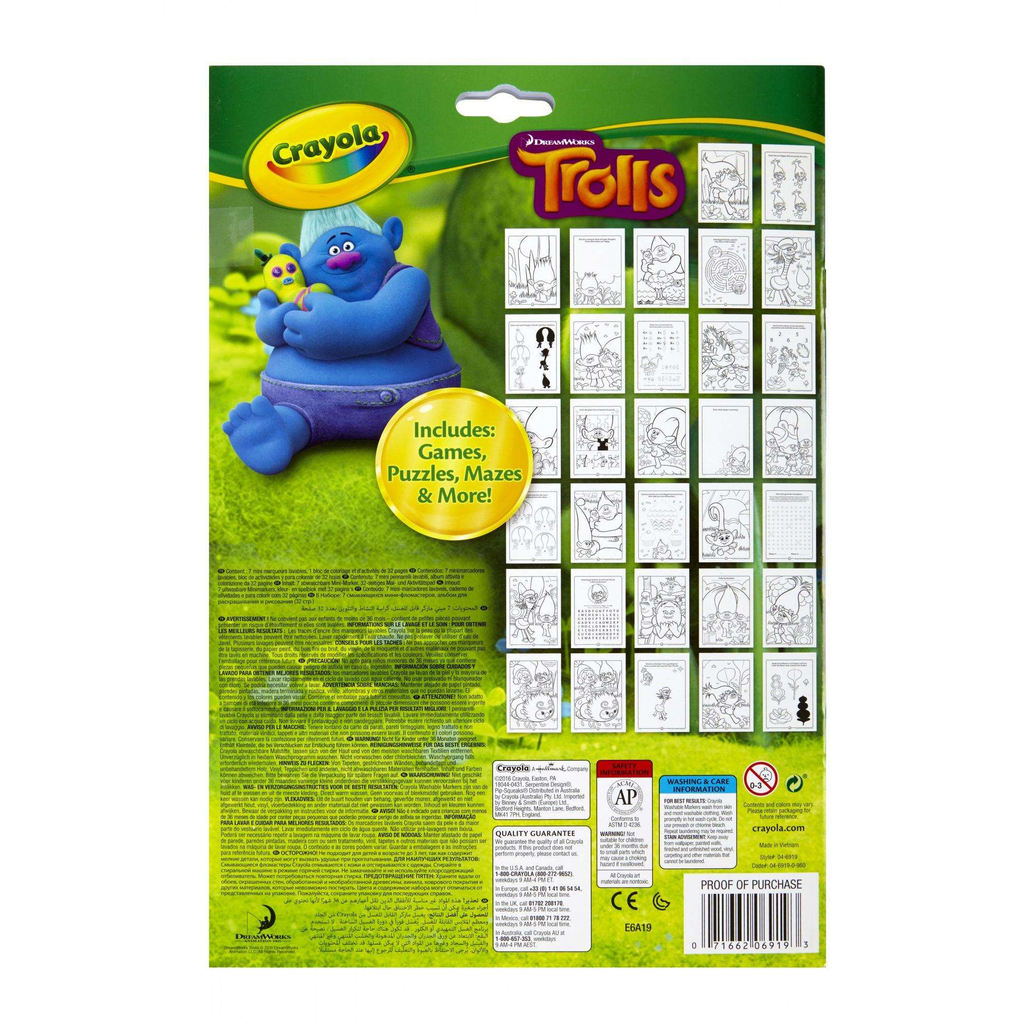 Crayola Trolls Coloring & Activity Book, 32 Pages, 7 Mini Markers ...