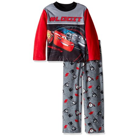 Disney Boys' Cars 2-Piece Fleece Pajama Set, Red, Size: 3T