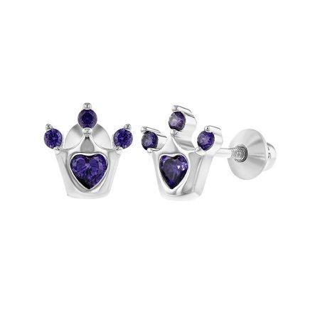 925 Sterling Silver Cubic Zirconia Princess Crown Back Baby Earrings