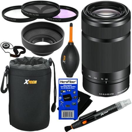 Sony E 55-210mm f/4.5-6.3 OSS E-Mount Telephoto Zoom Lens (Black) for a3000, a3500, a5000, a5100, a6000, a6300, a6500, NEX-3/5/6/7, NEX-C3/F3 + 10pc Deluxe Accessory Kit w/ HeroFiber Cleaning