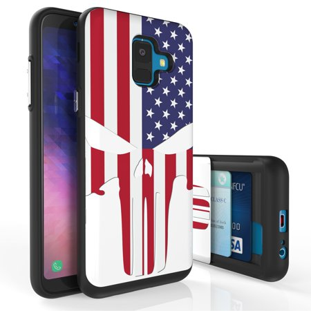 Galaxy A6 Case, PimpCase Slim Wallet Case + Dual Layer Card Holder For Samsung Galaxy A6 SM-A600GN (Released 2018) US Flag Skull](Flag Holder Case)