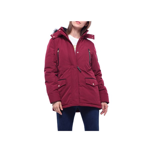women's red winter coat with hood : Rokka&Rolla Women's Hooded Warm Winter Coat with Faux Fur Insulated Breathable Parka Jacket