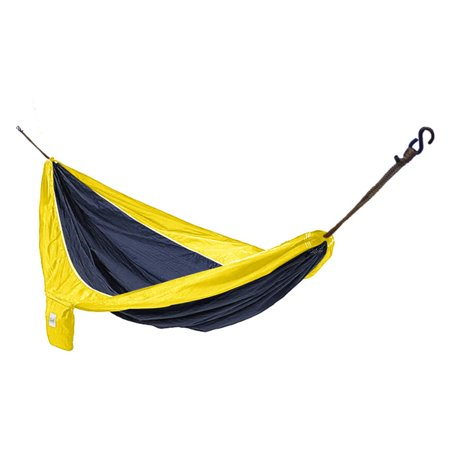 Hammaka Parachute Silk Double Hammock Lighter than a tent and easier than renting an RV, the Hammaka Parachute Silk Hammock is the perfect way for two people to sleep in comfort while they're on the move. Crafted from durable and quick-drying parachute nylon, this lightweight hammock folds down to a size that can easily be stowed away in a backpack or large pocket. A full range of color combinations are available. This is the perfect hammock for outdoor recreation enthusiasts and adventurers who appreciate a comfortable place to rest.About HammakaHammaka products, now brought to you by King's Pond, are designed to provide a comfortable getaway from all of life's stresses. It all started with the Original Hammaka Hammock Chair, but the wide variety of luxurious chairs is constantly growing in order to give you the perfect fit