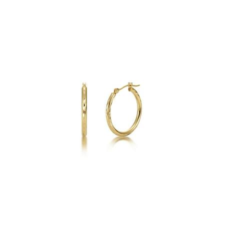 Full Diamond Cut 14k Yellow Gold 2mm x 20mm Click Top Tube Hoop Earrings