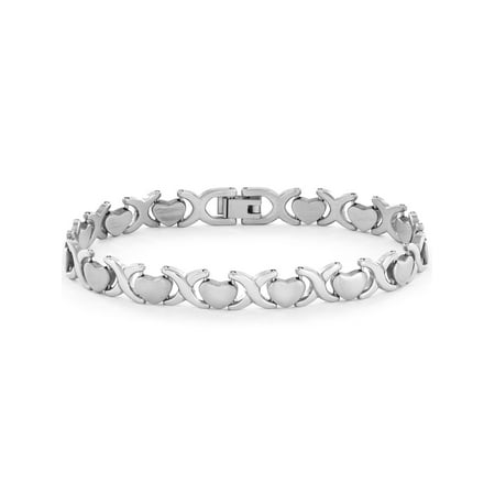 Brushed and Polished Heart Link Stainless Steel Bracelet (Stanless Link Bracelet)