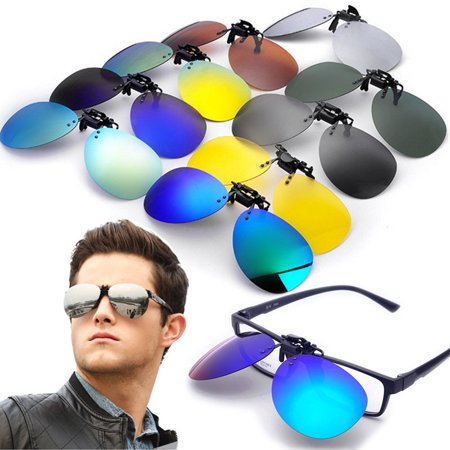 Fashion UV400 Polarized Flip Up Sunglasses Clip-On Lens Clip Lenses Colorful Day Night Vision Men Women Metal Eyewear For  Fishing Night-Driving (1.1 Mm Polarized Lens)
