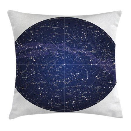 Constellation Throw Pillow Cushion Cover  High Detailed Sky Map Of Northern Hemisphere With Names Of Stars  Decorative Square Accent Pillow Case  24 X 24 Inches  Blue Cream Violet Blue  By Ambesonne