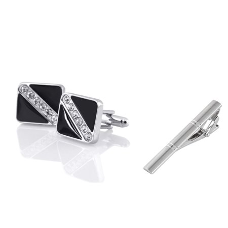 Men's Black Silver with 6 Rhinestones Cufflinks + Silver Double Lines Brushed Tie Clip