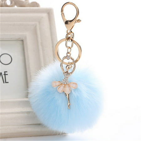 Outtop 8CM Cute Dancing Angel Keychain Pendant Women Key Ring Holder Pompoms Key - Cute Keychains