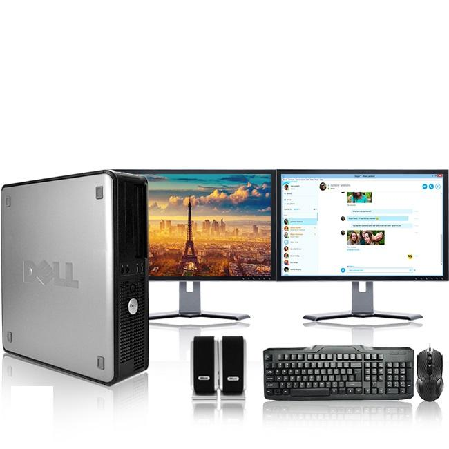 "Dell Optiplex Desktop Computer 2.3 GHz Core 2 Duo Tower PC, 4GB RAM, 500 GB HDD, Windows 10, ATI , Dual 19"" Monitor (Brands Vary), USB Mouse & Keyboard"