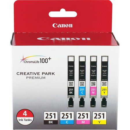 Canon (6513B004) Black and Tri-Color Ink Cartridge, 4/pack