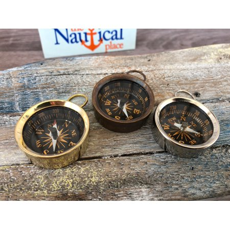 Antique Style Locket (Brass Pocket Compass - Polished, Antique, Silver Finish - Nautical Necklace Pendant Charm - Old Vintage)