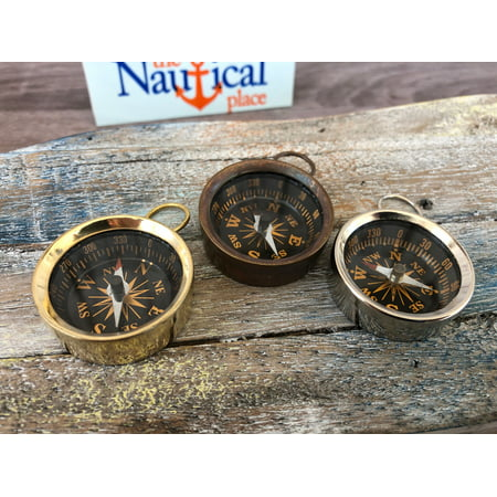 Brass Pocket Compass - Polished, Antique, Silver Finish - Nautical Necklace Pendant Charm - Old Vintage Style