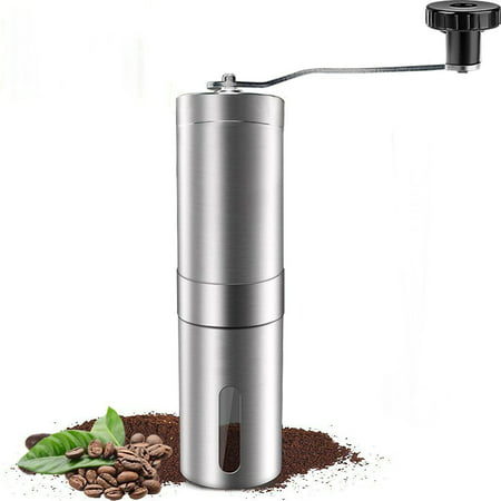 Manual Coffee Grinder, Conical Burr Mill, Brushed Stainless Steel, Adjustable Ceramic Burr Design (Coffee Mill Ceramic)
