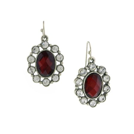 Crystal Oval Earring (Women Silver-Toned Red Faceted Stone/Crystal Oval Drop Earrings NEW)