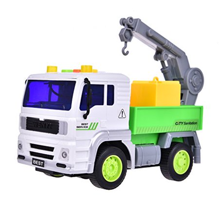 - Garbage Truck Toys Friction Powered Recycle Trucks Toy For Loading 3 Colored Sanitation Garbage Cans-Strong Friction Rolling Action F-62