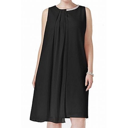 Embellished Neck Shift Dress (SLNY NEW Black Womens Size 18W Plus Embellished-Neck Shift)