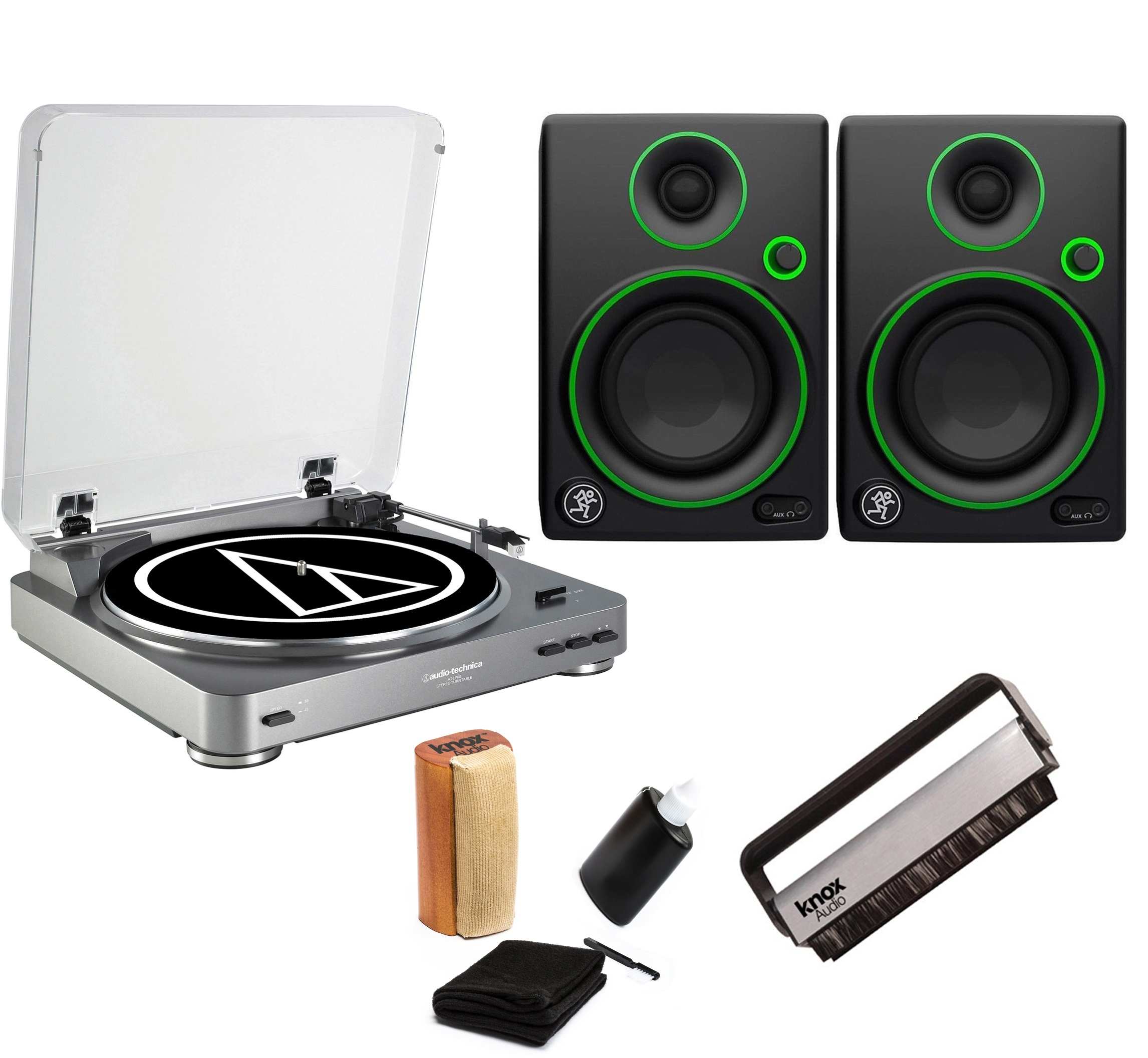 Audio-Technica AT-LP60 Turntable with 2 Mackie CR3 Monitors & Knox Cleaning Kit by Audio-Technica