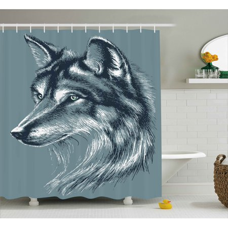 Timber Bath (Animal Shower Curtain, Wild Timber Wolf Portrait Hunter Exotic Creature Mystery Mammal Artsy Hunter Graphic, Fabric Bathroom Set with Hooks, Slate Blue, by Ambesonne )