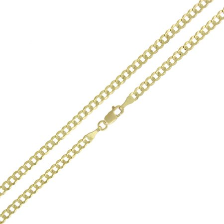(14K Yellow Gold 3mm Solid Cuban Curb Link Chain Necklace 16