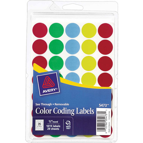 "Avery See-Through Removable Color Dots, 3/4"" dia, Assorted Colors, 1015/Pack 05473"
