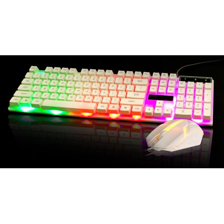 tsv gaming keyboard mouse combo rainbow led backlit 104 keys usb wired keyboard and mouse combo. Black Bedroom Furniture Sets. Home Design Ideas
