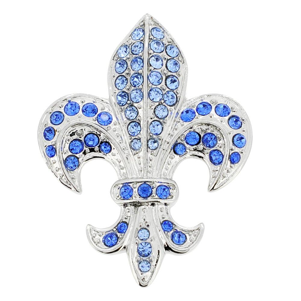 Sapphire Blue Fleur-De-Lis Symbol Brooch and Pendant by