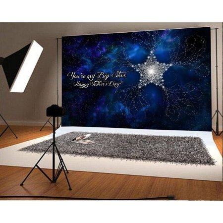 HelloDecor Polyester Fabric 7x5ft Photography Background Happy Father's Day Big Star Shiny Glittering Starry Night Sky Background Cowboy Countryside Scenery Children Photo Studio Prop