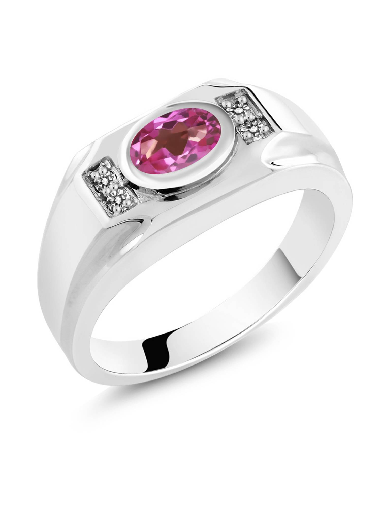 1.63 Ct Oval Pink Mystic Topaz White Diamond 925 Sterling Silver Men's Ring by