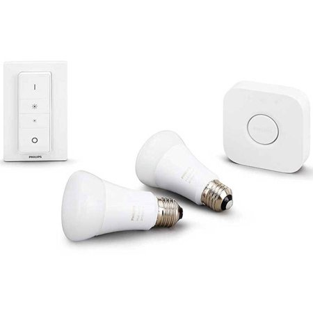 (Philips Hue White Ambiance Smart Bulb Starter Kit (2 A19 Bulbs, 1 Bridge, and 1 Dimmer Switch, Works with Alexa, Apple HomeKit, and Google Assistant) Refurbished)