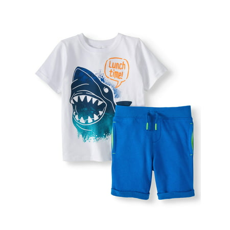 Graphic T-Shirt & French Terry Shorts, 2pc Outfit Set (Toddler - French Maids Outfit