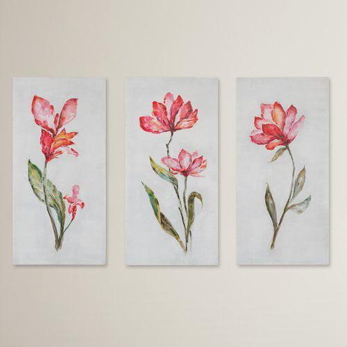 August Grove Springtime Promise Floral Art Grace Feyock 3 Piece Painting Print on Canvas Set