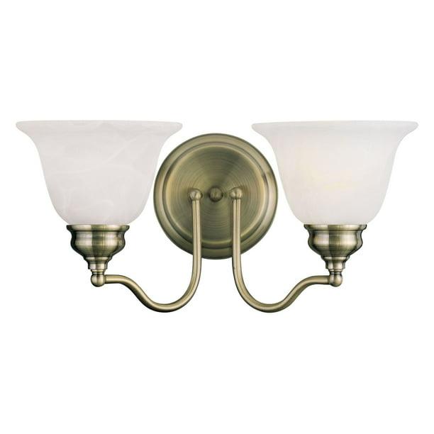 Livex Essex 1352 01 2 Light Bath Light In Antique Brass