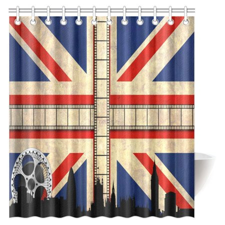 MYPOP Union Jack Shower Curtain Grungy Aged UK Flag Big Ben Country Culture Movie Reels
