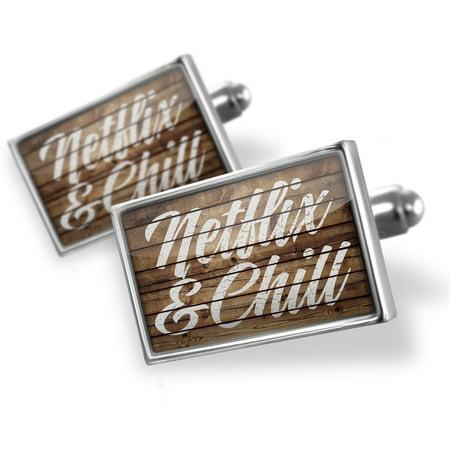 Cufflinks Painted Wood Netflix & Chill - NEONBLOND (Wood Cufflinks)